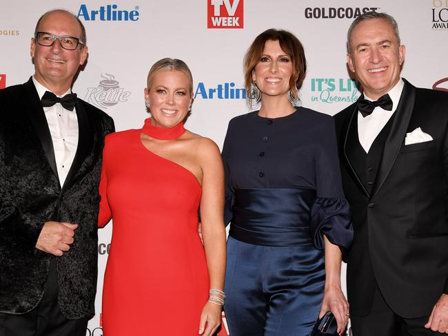 Sunrise co-hosts David Koch, Samantha Armytage, Natalie Barr and Mark Beretta at the Logies. Picture: AAP