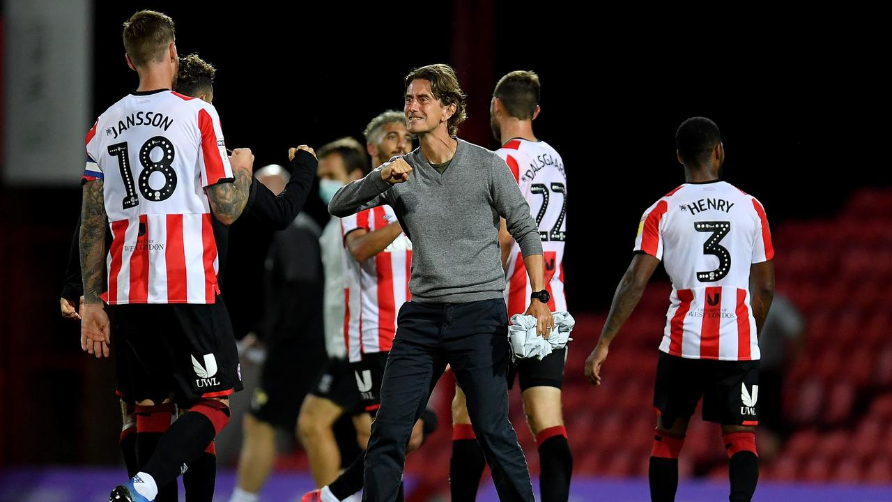 Brentford manager Thomas Frank and his players.
