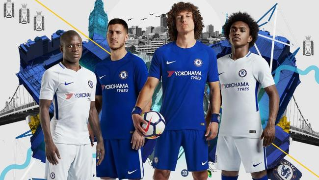 N'Golo Kante, Eden Hazard, David Luiz and Willian unveil Chelsea's home and away kits.