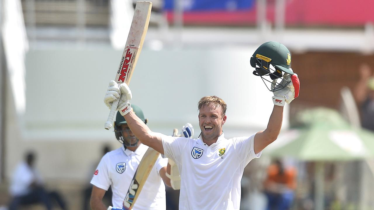 AB De Villiers Celebrates After Scoring A Hundred Against Australia In March