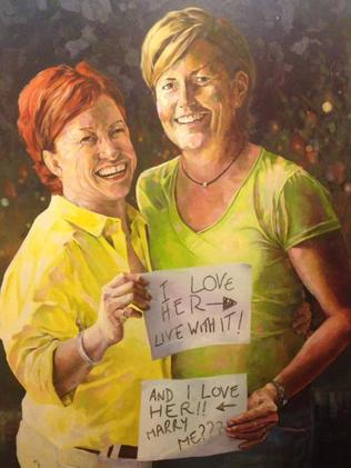 Perry Westwood created this second Archibald Prize entry depicting Ms Edwards and Ms Forster. Picture: Supplied