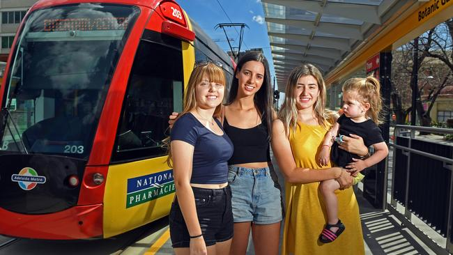 "Ivana Jaric, Anna Francis, Aleksandra Jaric and daughter Ariana, 18 months, at the new Botanic Garden tram stop. Picture: Tom Huntley <span id=""U642469605189RuG"" style=""font-family:'Guardian Sans Regular';font-weight:normal;font-style:normal;""></span>"
