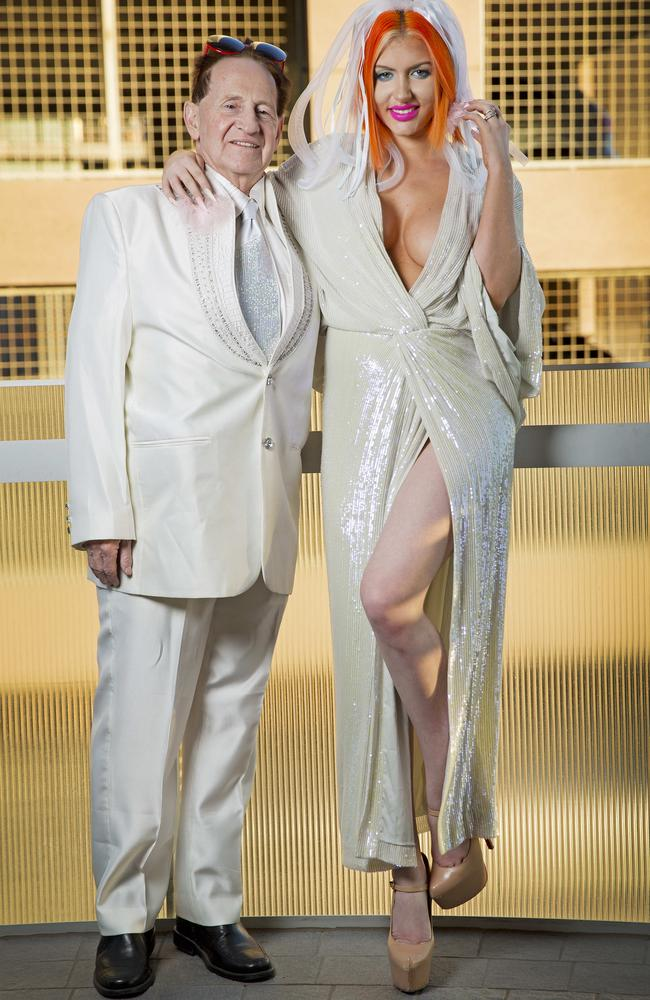 Geoffrey Edelsten and Gabi Grecko pose for a photo after their 2015 wedding. Picture: Nathan Dyer