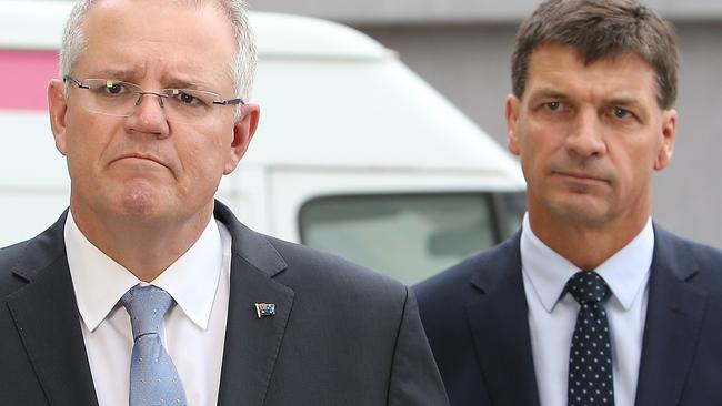 Scott Morrison and Energy Minister Angus Taylor. Picture: Kym Smith