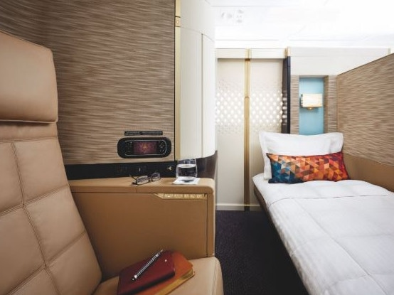You can fly London/Paris to Abu Dhabi in Etihad's first-class Apartment, featuring a bed, chef-prepared food, champagne and an on-board shower, for 78,000 Velocity points one-way. Picture: Etihad