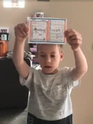 Beau with his home made safety instruction card.