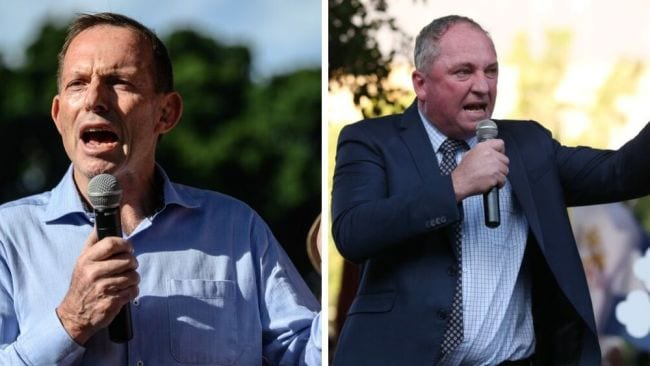 Tony Abbott and Barnaby Joyce vehemently opposed the abortion bill. Image: AAP Image/James Gourley, David Swift.