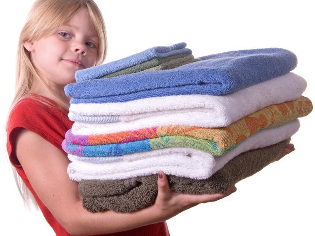 Throw out old towels immediately and replace them with new ones labelled with the names of each family member. Picture: Supplied