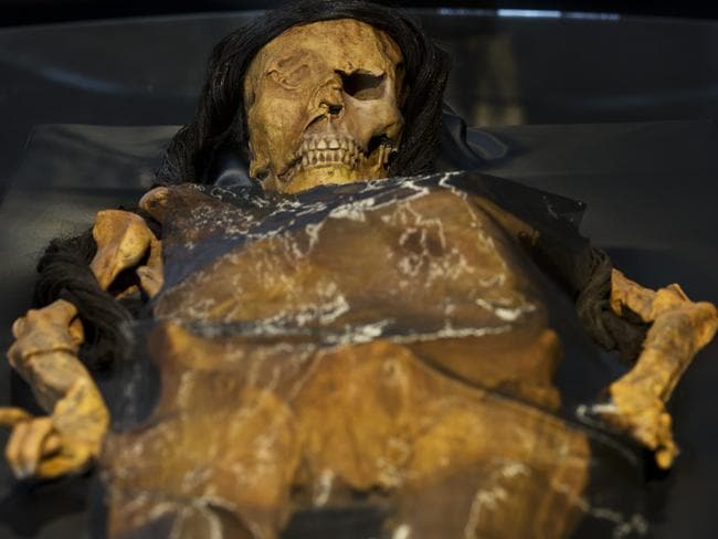 "A replica of the Lady of Cao's mummy, found in 2005 at the archaeological site Huaca El Brujo, in the cost north of Peru. Picture: Rodrigo Abd  <a capiid=""422d899f52ffe334f7e15bd895370077"" class=""capi-video"">3-D Designers Turn to Mother Nature</a>"