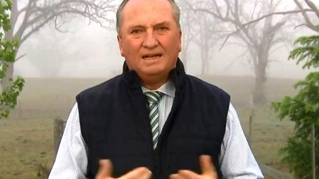Barnaby Joyce on Sunrise this morning, with bushfire smoke behind him. Picture: Channel 7