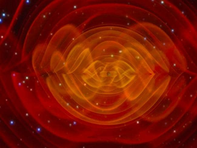 Confirmation ... A simulation of the shape of gravitational waves radiating out of a black hole merger. Picture: NASA.