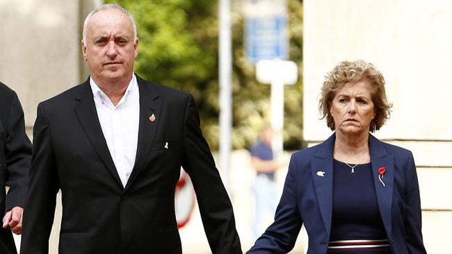 The parents of Grace Millane, David and Gillian Millane arrive at the Auckland High Court this week.