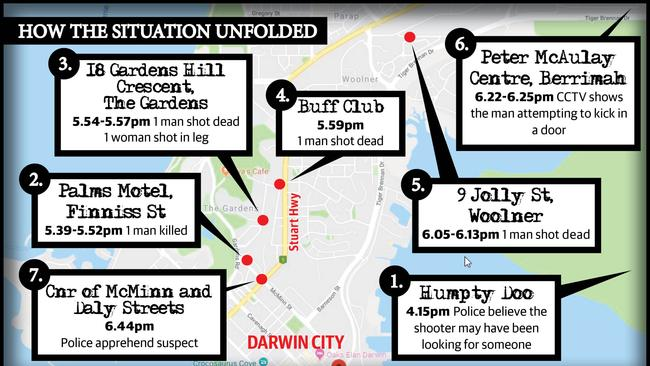 A map of how the Darwin shootings situation unfolded. Graphic: STUART THORNTON