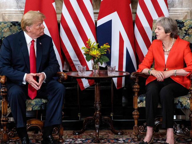Mr Trump backtracked after his attack on UK prime minister Theresa May in a joint news conference following their meeting at her Chequers residence, northwest of London. Picture: Getty Images / POOL / Jack Taylor