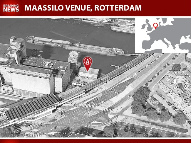 The former grain silo now known as the Maassilo concert venue in Rotterdam, Holland. The van with gas cylinders was found close by.