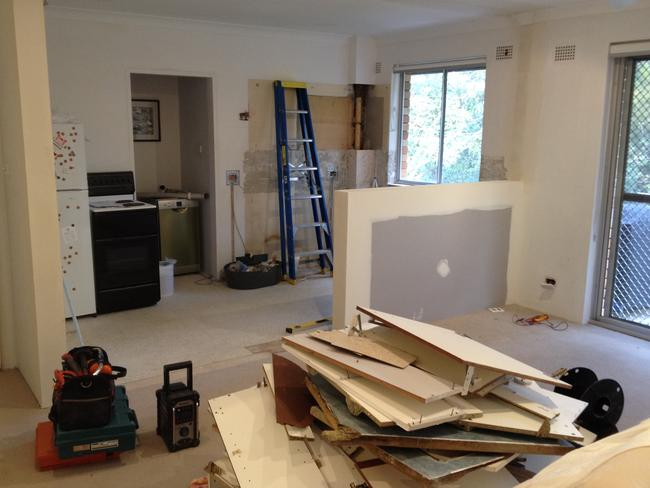 Libby and Ben Kent's Manly Vale apartment in the process of renovation.