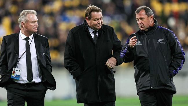 (L to R) Grant Fox, Steve Hansen and Ian Foster prior to the start of the International Test match between the New Zealand All Blacks and Wales in 2016.