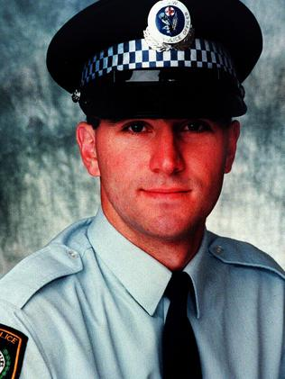 Police constable David Carty, 25, who was murdered by the Assyrian Kings gang in a carpark in 1997. His nose and ears sliced off during the attack.
