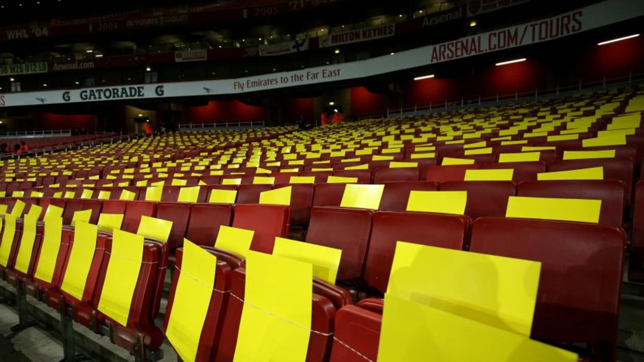 Yellow boards were prepared in the away end at the Emirates