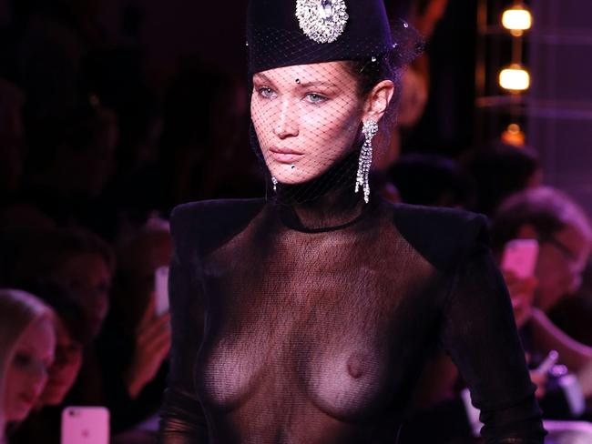 Bella Hadid models a creation by Alexandre Vauthier during the 2017-2018 fall/winter Haute Couture collection in Paris. Picture: AFP