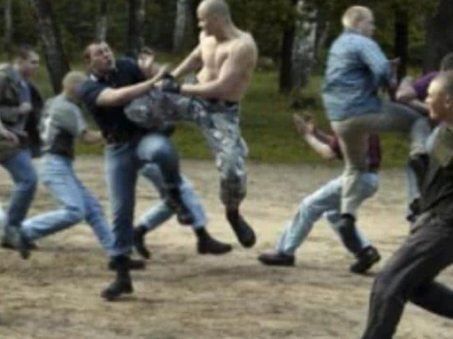 People fighting in a YouTube internet video associated with white supremacist group Blood & Honour.