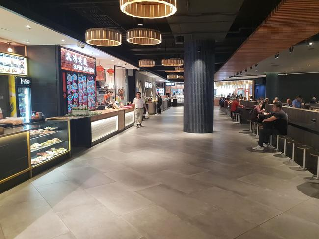 The food court in Market City is usually full but less people have been showing up for lunch.