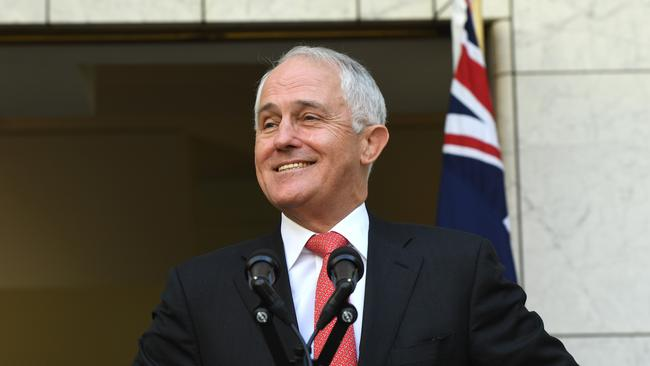 Prime Minister Malcolm Turnbull following the announcement of the results in Canberra. Picture: AAP/Dean Lewins