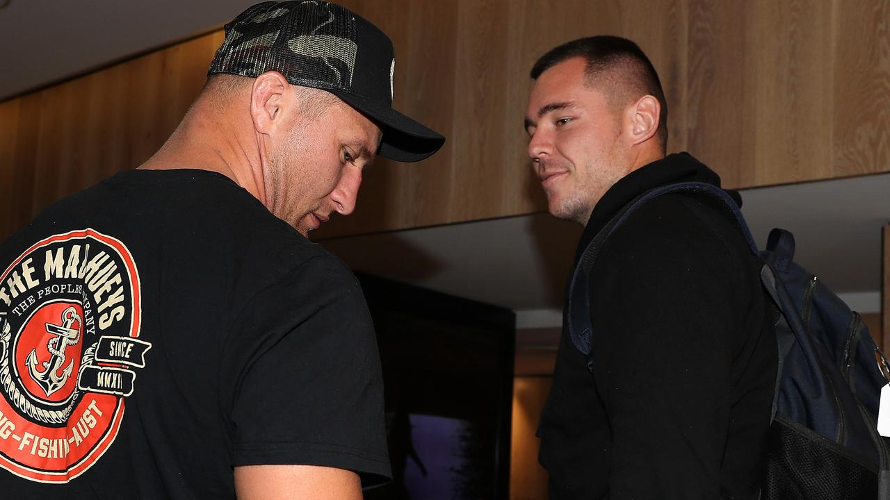David Klemmer arrives to join the NSW Blues squad at the QT Bondi after Tariq Sims (left) was ruled out by the NRL judiciary. Picture: Brett Costello
