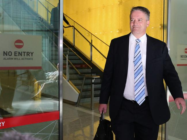Abbott supporter ... Finance Minister Mathias Cormann arrives at Canberra Airport. Picture: Ray Strange