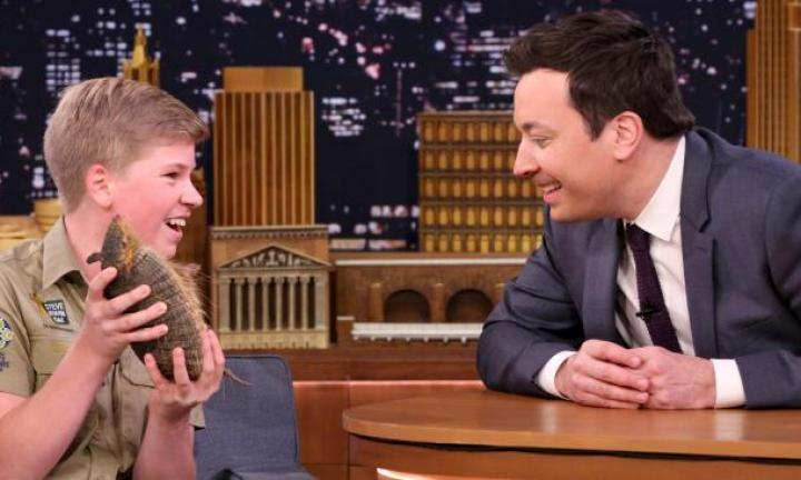 Robert Irwin looks every bit a chip off the old block on Tonight show debut
