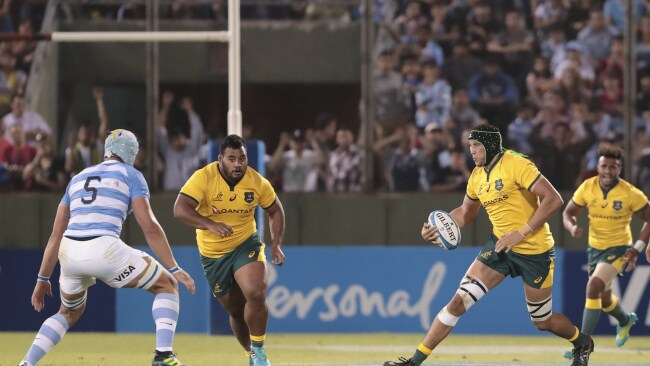 Adam Coleman finding himself with room to move against Argentina. (AP Photo/Gonzalo Prados)