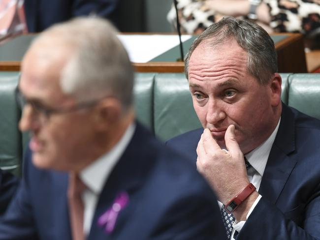 Australian Deputy Prime Minister Barnaby Joyce reacts during House of Representatives Question Time. Picture: AAP