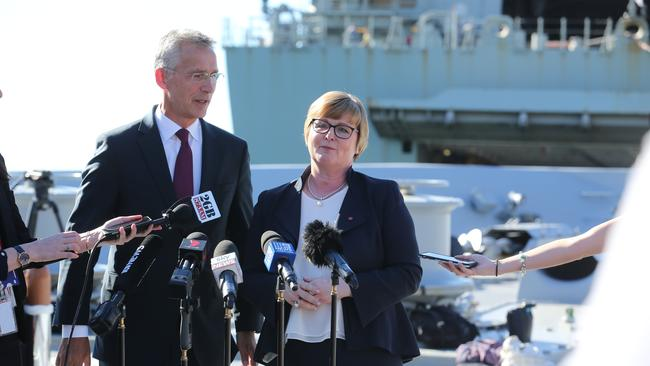 0Minister for Defence Senator the Hon Linda Reynolds CSC and NATO Secretary General Jens Stoltenberg meet at Garden Island in Sydney to sign the Individual Partnership and Cooperation Program, on board the HMAS Hobart. Picture: Britta Campion / The Australian