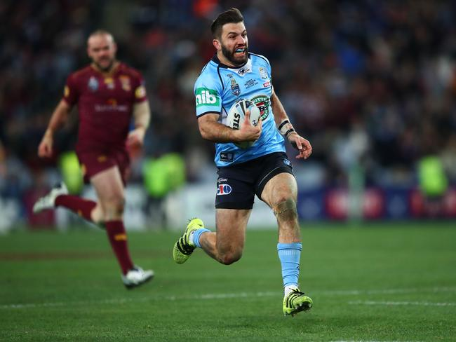 NSW's James Tedesco makes a late break during Game III.