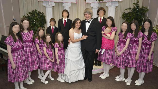 The creepily lookalike family when parents David and Louise renewed their vows in 2016.