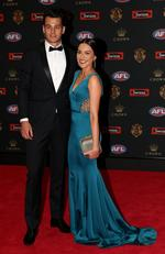 Robbie Tarrant of North Melbourne and Jess Jafer arrive at the 2016 Brownlow Medal Count.