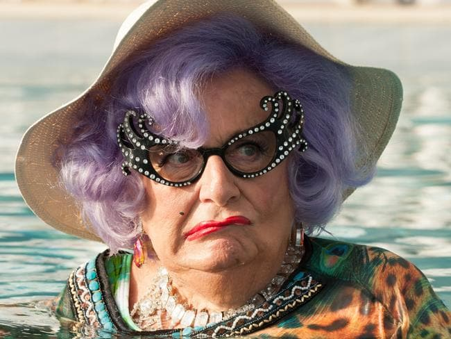 Dame Edna Everage appeared in Absolutely Fabulous: The Movie, but has made intolerant comments about the transgender community. Picture: Supplied