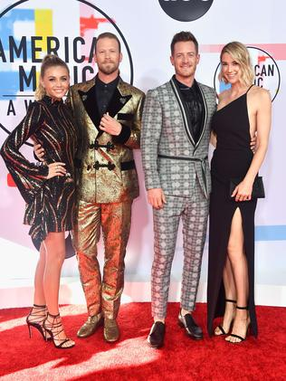Brittney Marie Cole, Brian Kelley and Tyler Hubbard Florida Georgia Line, and Hayley Stommel. Picture: AFP