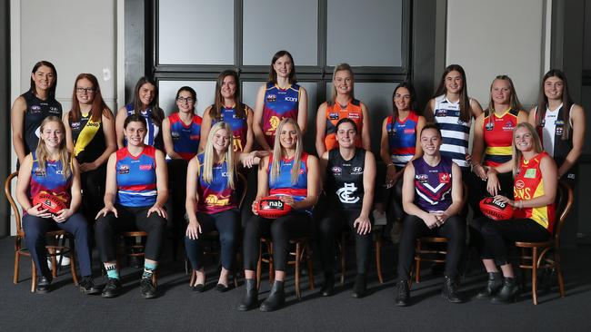 The top picks gather after the AFLW draft. Picture: Michael Klein