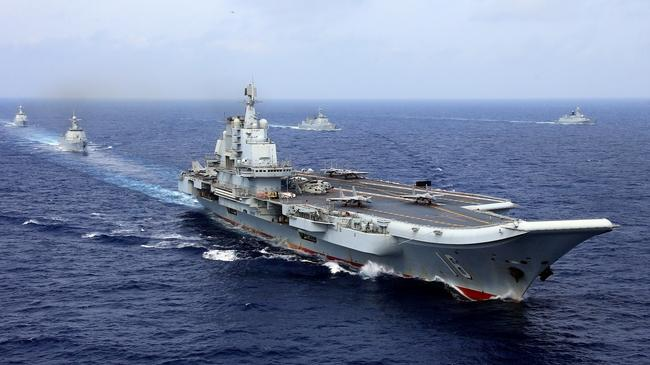 China's aircraft carrier Liaoning takes part in a military drill in the Pacific Ocean. Picture: Supplied