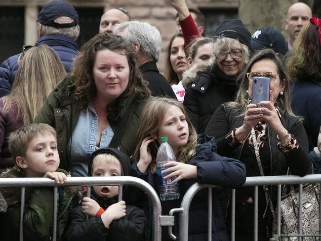 Crowds watch the balloons for the Macy's Thanksgiving Day Parade. Picture: AP