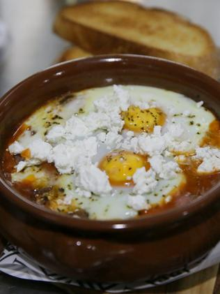 Athenian baked eggs and fresh bread for breakfast at Alevri in Dulwich Hill.