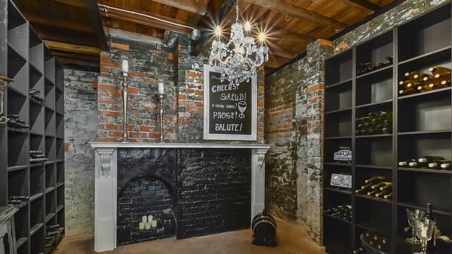 An underground wine cellar adds charm.