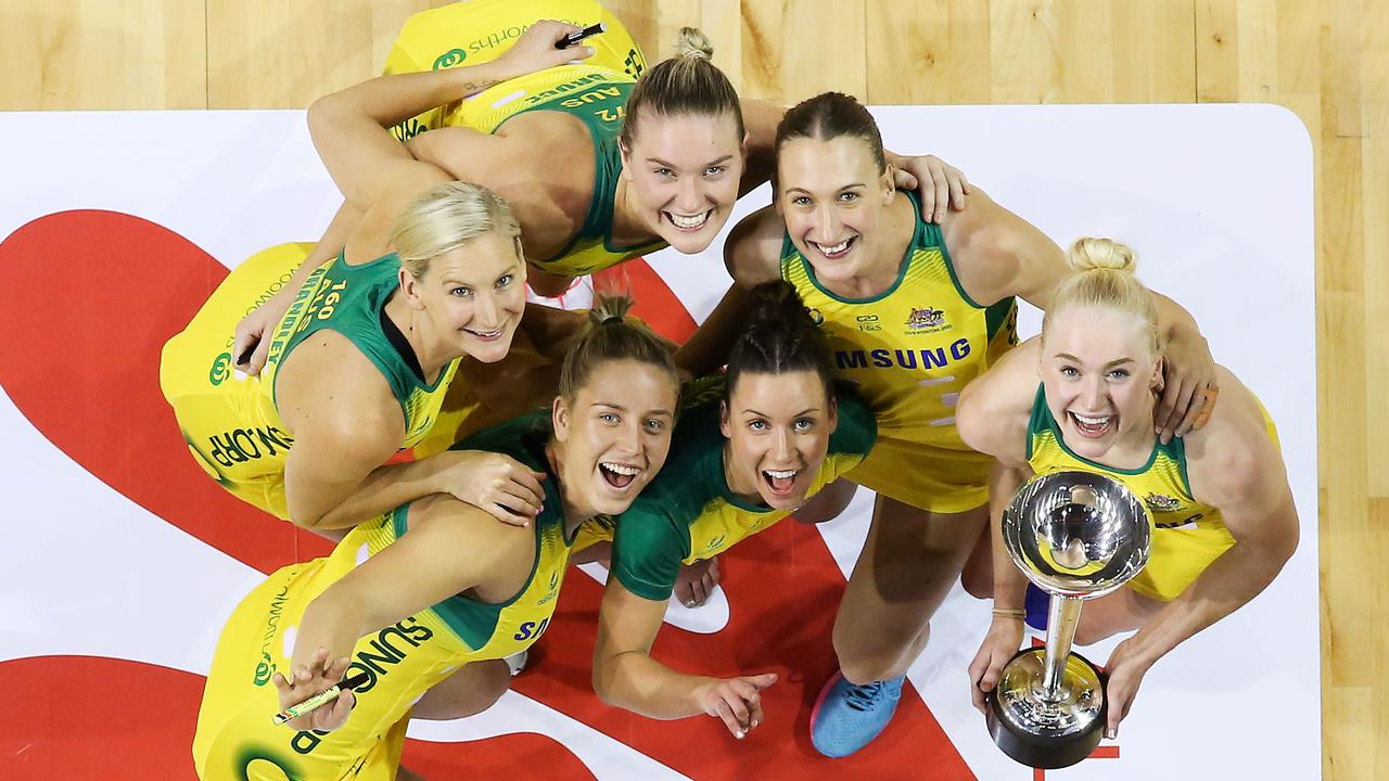 Australian Diamonds (from left to right) April Brandley, Jamie-Lee Price, Courtney Bruce, Kelsey Browne, Emily Mannix and Jo Weston of Australia pose with the Constellation Cup. Picture: Getty Images