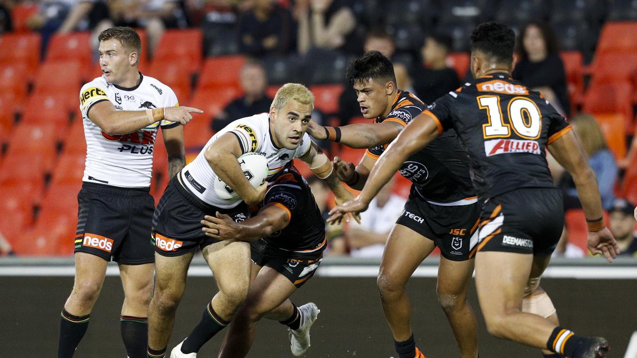 Tyrone May scored in the Penrith Panthers v Wests Tigers NRL trial match.
