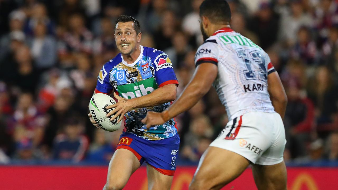 Mitchell Pearce of the Newcastle Knights in action during the round 11 NRL match between with the Roosters