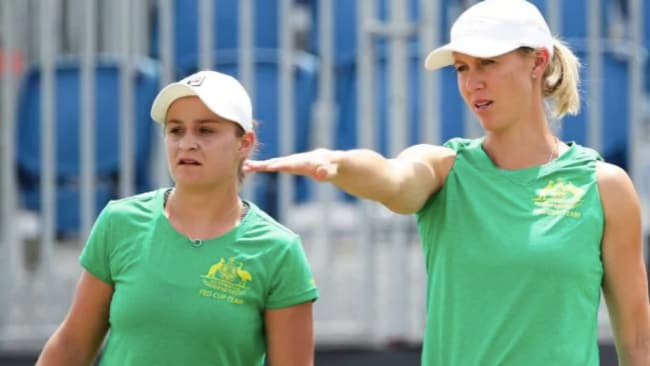Barty with Alicia Molik at Fed Cup practice. Source: Getty Images