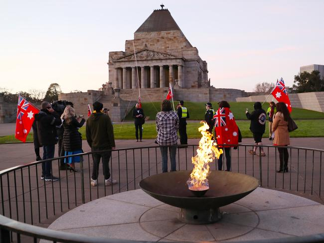 Anti-mask protesters hold a protest on the forecourt of the Shrine of Remembrance. Picture: NCA NewsWire/David Crosling