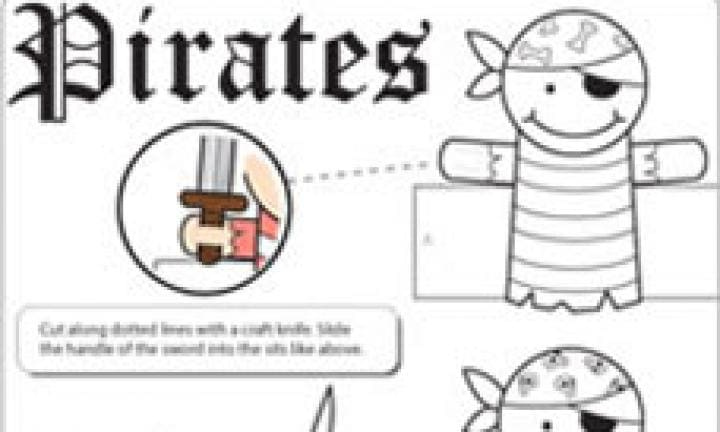 Pirate finger puppet template