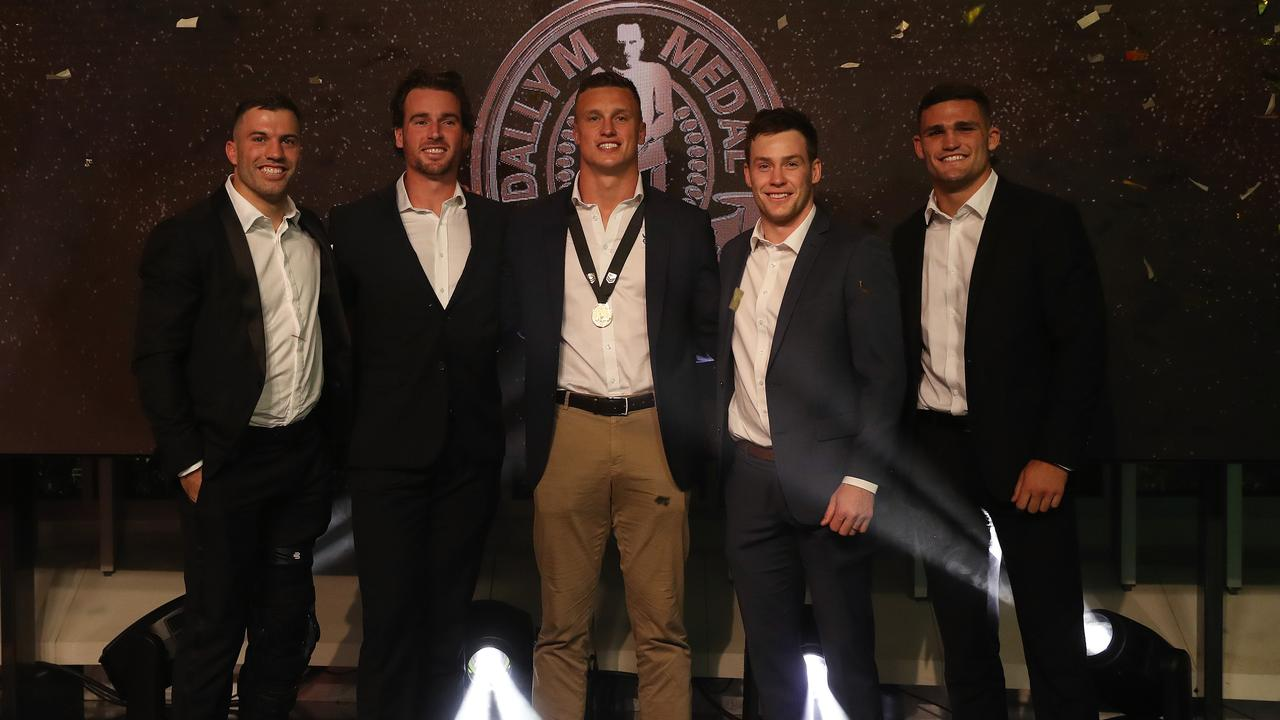 Winner of the Dally M Award Canberra's Jack Wighton with James Tedesco, Clint Gutherson, Luke Keary and Nathan Cleary.